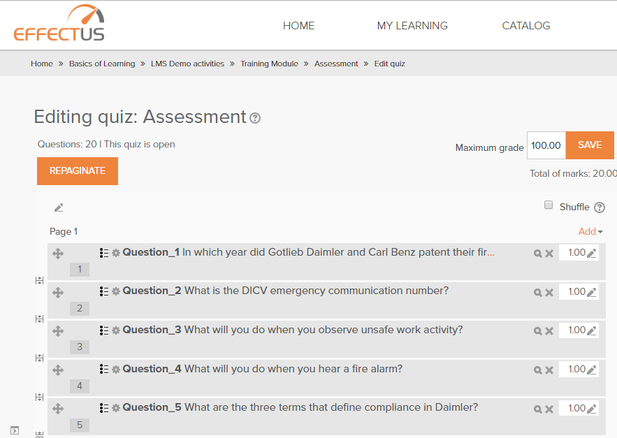 Randomization of Questions and Options