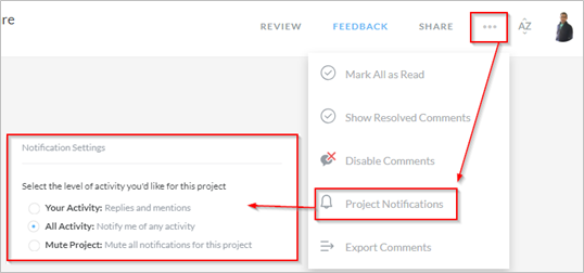 Selecting Project Notifications