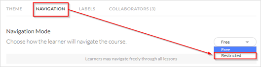 Imposing Restricted Navigation in Articulate Rise
