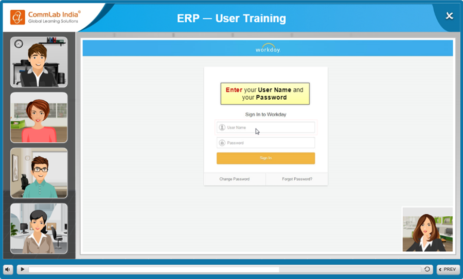 Simulations for ERP Training