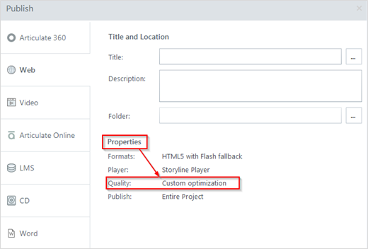 How to Decrease Course Size Using Player Quality Settings in Articulate Storyline