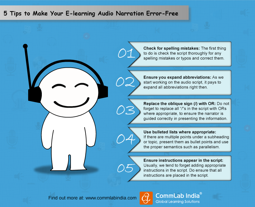 5 Tips to Make Your E-learning Audio Narration Error-Free [Infographic]