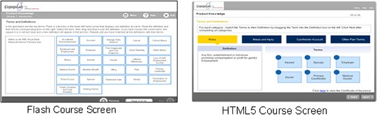 Screenshots of Flash and HTML5 courses