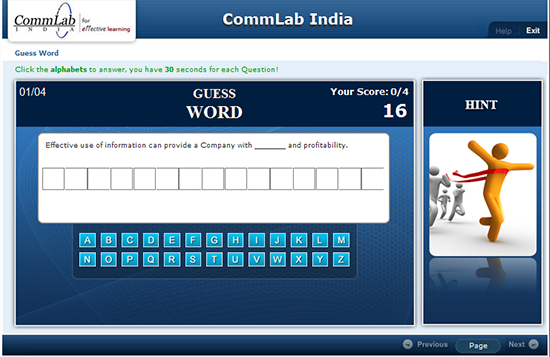 Word game developed using Lectora