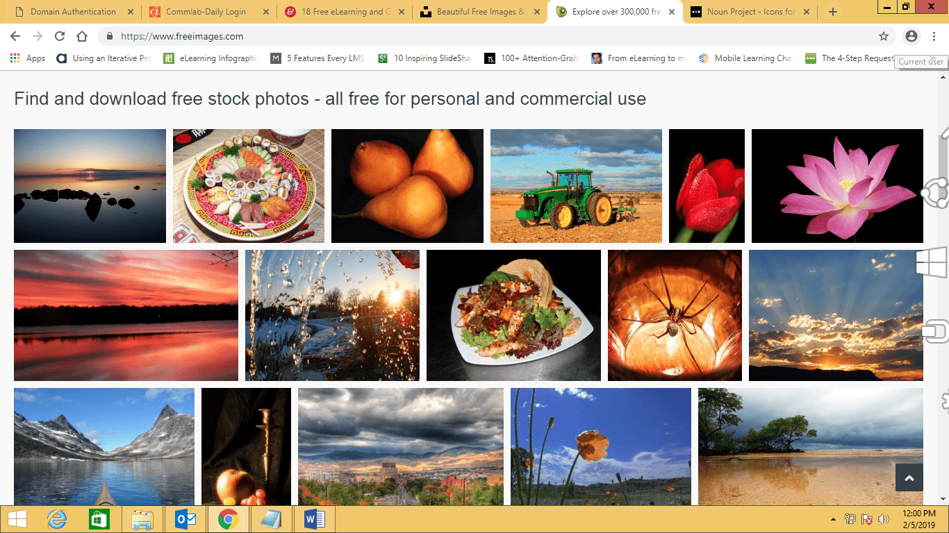 Screenshot of Freeimages website