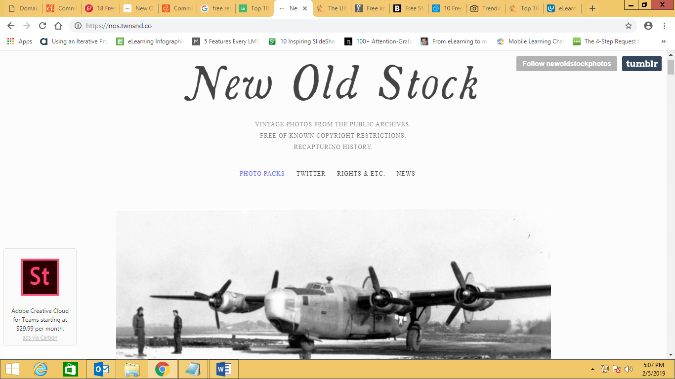 Screenshot of New Old Stock website
