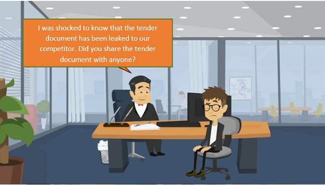 Screenshot of a scenario in compliance training